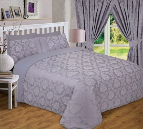 SILVER GREY DAMASK JACQUARD SCROLL FLORAL DUVET COVER LUXURY BEDDING OR CURTAINS